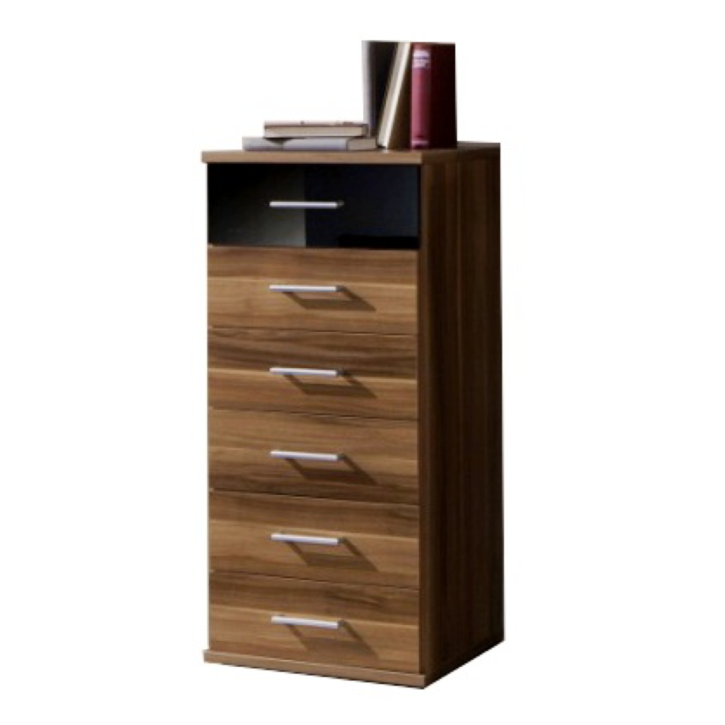 Gamma 6 Drawer Chest Narrow In Walnut And Black Gloss