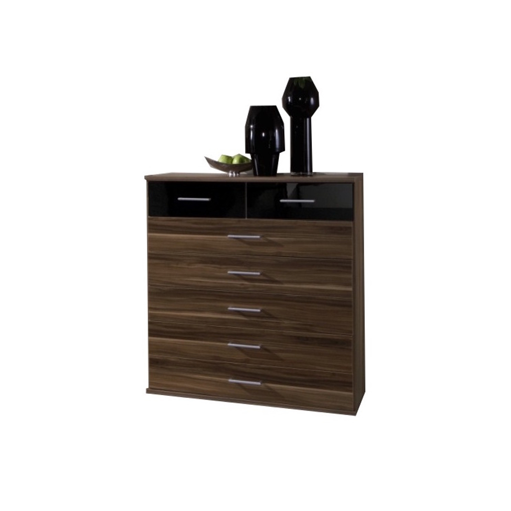 Gamma 5 2 Drawer Chest In Walnut And Black Gloss